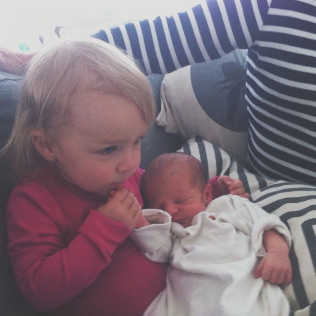 Baby Girl with her new baby brother